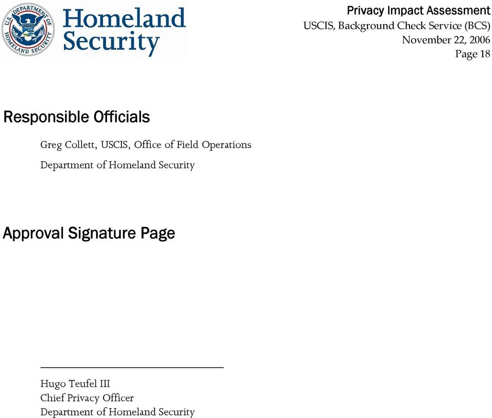 Security Approval Signature Page Hugo Teufel III