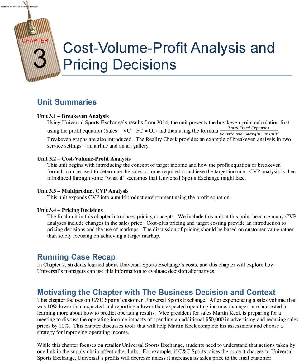 Cost-Volume-Profit Analysis and Pricing Decisions - PDF