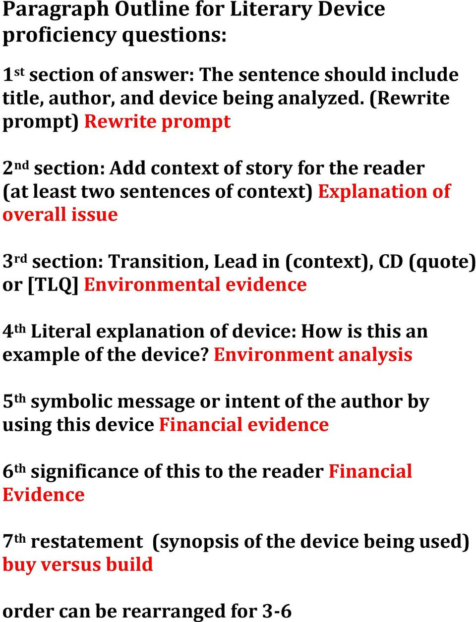 (context), CD (quote) or [TLQ] Environmental evidence 4 th Literal explanation of device: How is this an example of the device?