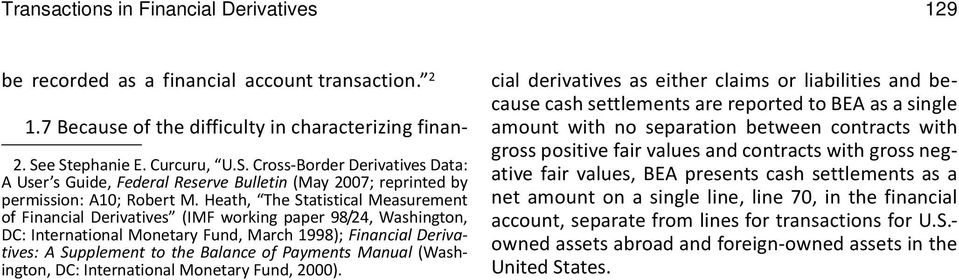 Heath, The Statistical Measurement of Financial Derivatives (IMF working paper 98/24, Washington, DC: International Monetary Fund, March 1998); Financial Derivatives: A Supplement to the Balance of