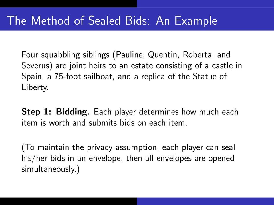 Step 1: Bidding. Each player determines how much each item is worth and submits bids on each item.