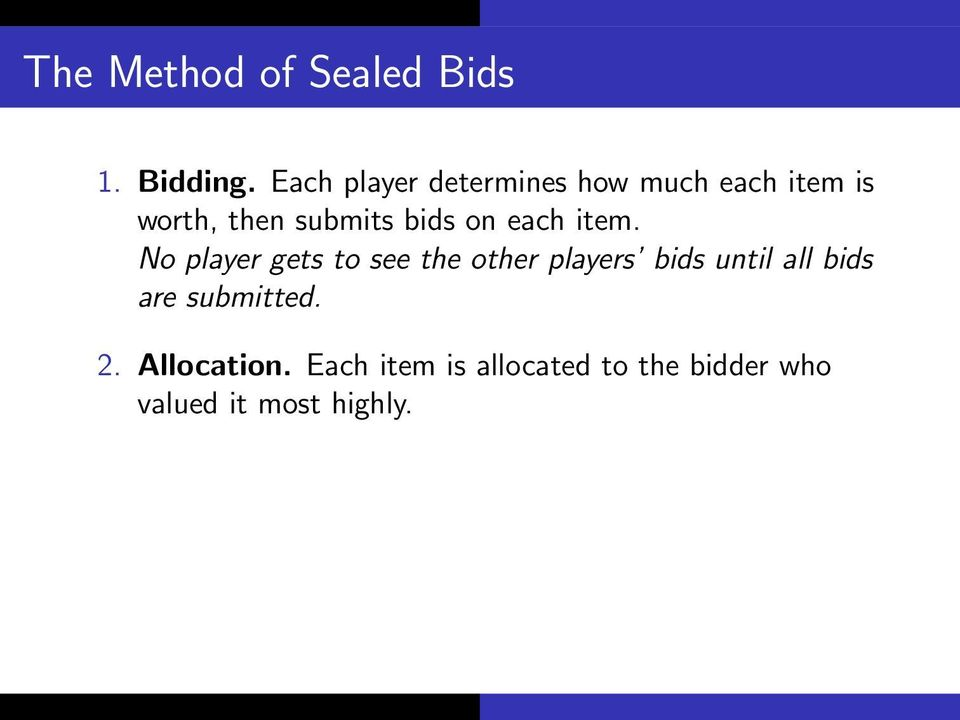 bids on each item.