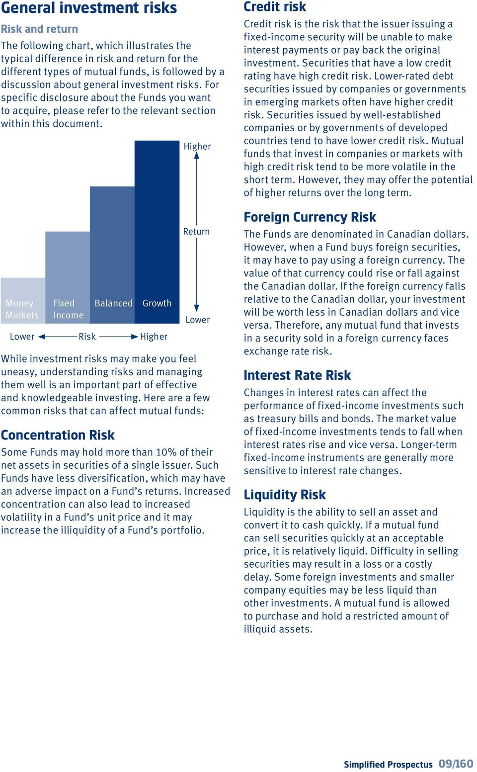 Money Markets Lower Fixed Income Risk Balanced Growth Higher Return Lower While investment risks may make you feel uneasy, understanding risks and managing them well is an important part of effective