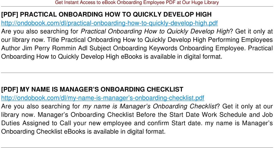 Title Practical Onboarding How to Quickly Develop High Performing Employees Author Jim Perry Rommin Adl Subject Onboarding Keywords Onboarding Employee.