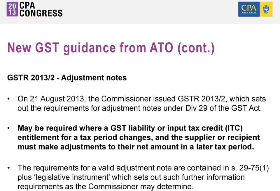 Div 29 of the GST Act.