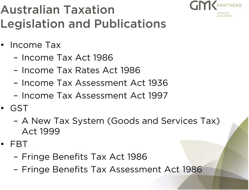 Tax Assessment Act 1997 GST A New Tax System (Goods and Services Tax) Act