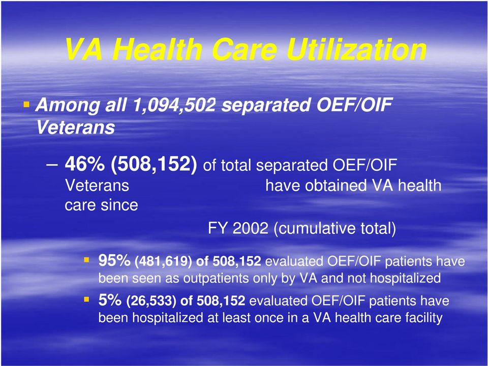 (481,619) of 508,152 evaluated OEF/OIF patients have been seen as outpatients only by VA and not