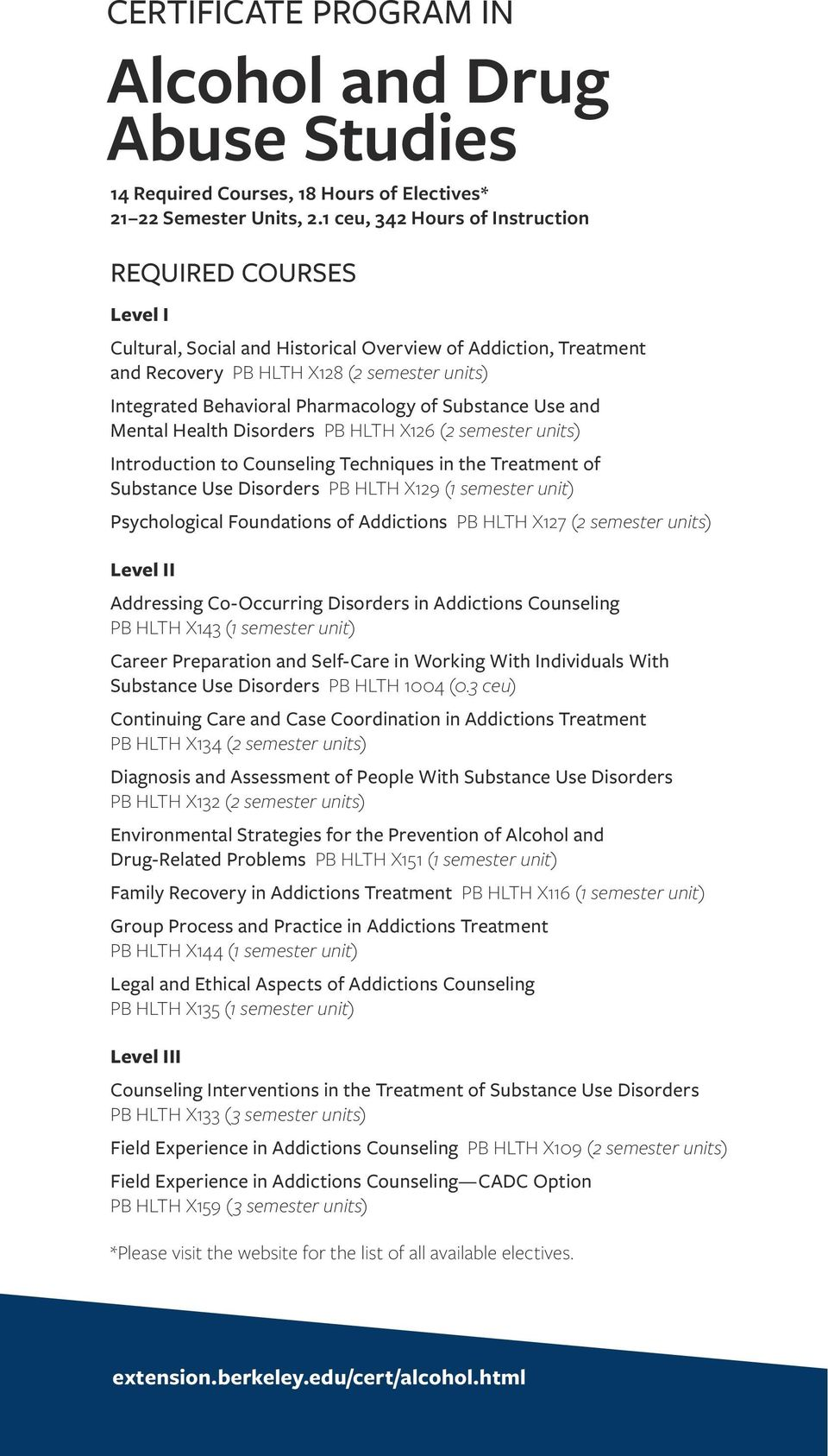 Pharmacology of Substance Use and Mental Health Disorders PB HLTH X126 (2 semester units) Introduction to Counseling Techniques in the Treatment of Substance Use Disorders PB HLTH X129 (1 semester