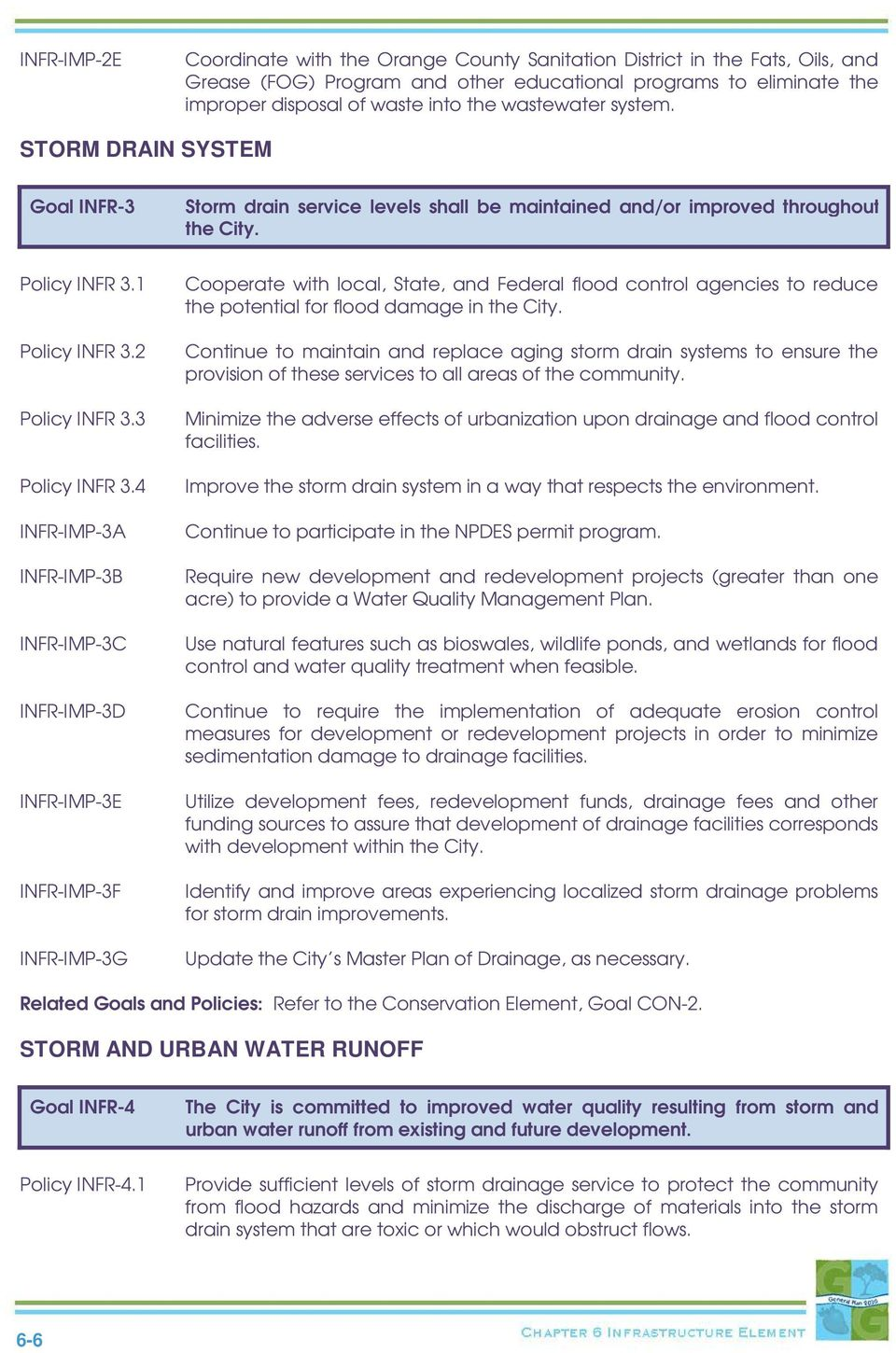 4 INFR-IMP-3A INFR-IMP-3B INFR-IMP-3C INFR-IMP-3D INFR-IMP-3E INFR-IMP-3F INFR-IMP-3G Cooperate with local, State, and Federal flood control agencies to reduce the potential for flood damage in the