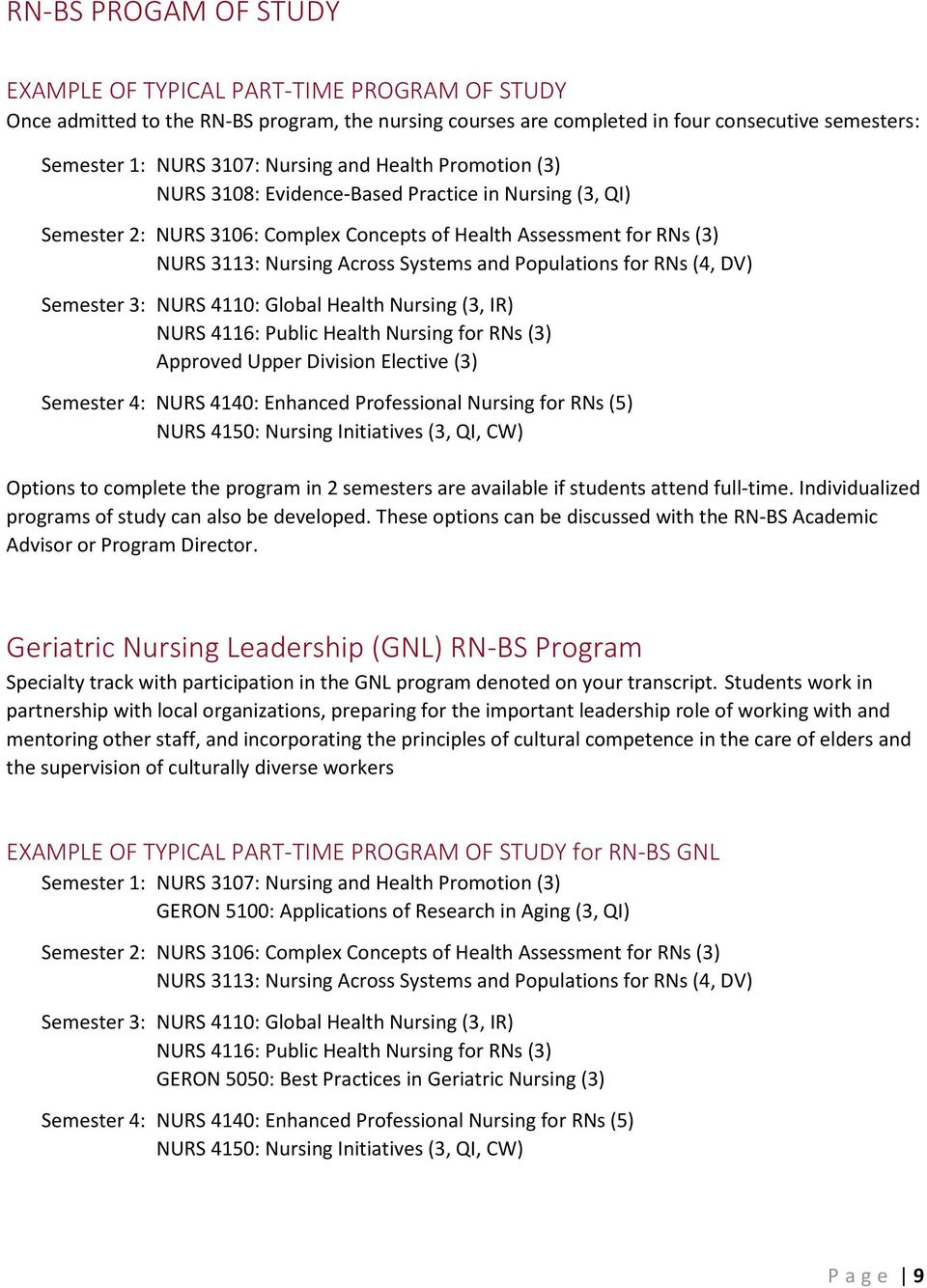 Populations for RNs (4, DV) Semester 3: NURS 4110: Global Health Nursing (3, IR) NURS 4116: Public Health Nursing for RNs (3) Approved Upper Division Elective (3) Semester 4: NURS 4140: Enhanced