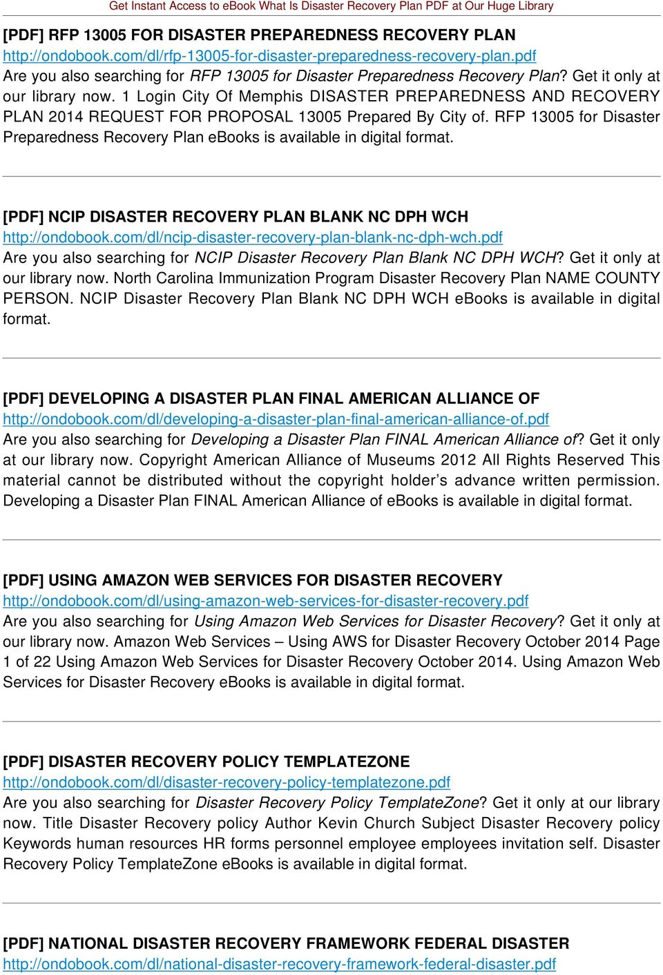 1 Login City Of Memphis DISASTER PREPAREDNESS AND RECOVERY PLAN 2014 REQUEST FOR PROPOSAL 13005 Prepared By City of.