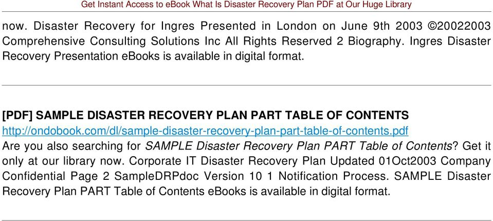 com/dl/sample-disaster-recovery-plan-part-table-of-contents.pdf Are you also searching for SAMPLE Disaster Recovery Plan PART Table of Contents? Get it only at our library now.