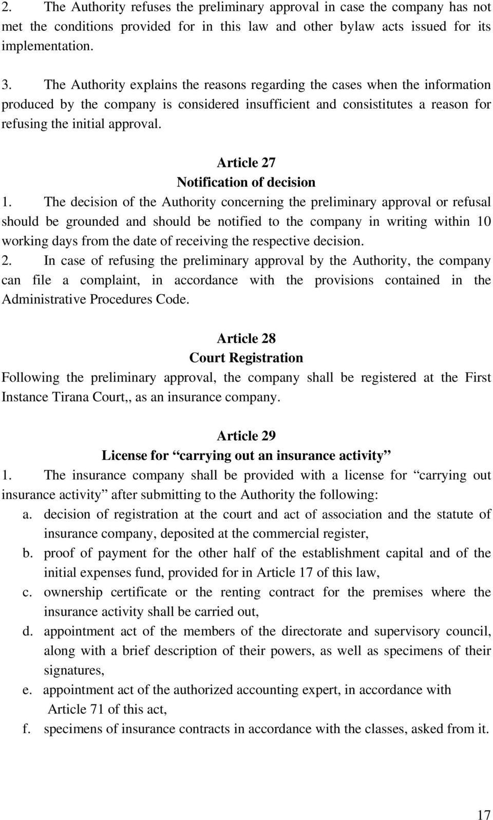 Article 27 Notification of decision 1.