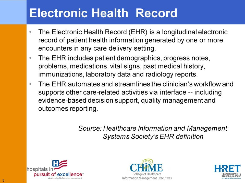 The EHR includes patient demographics, progress notes, problems, medications, vital signs, past medical history, immunizations, laboratory data and radiology