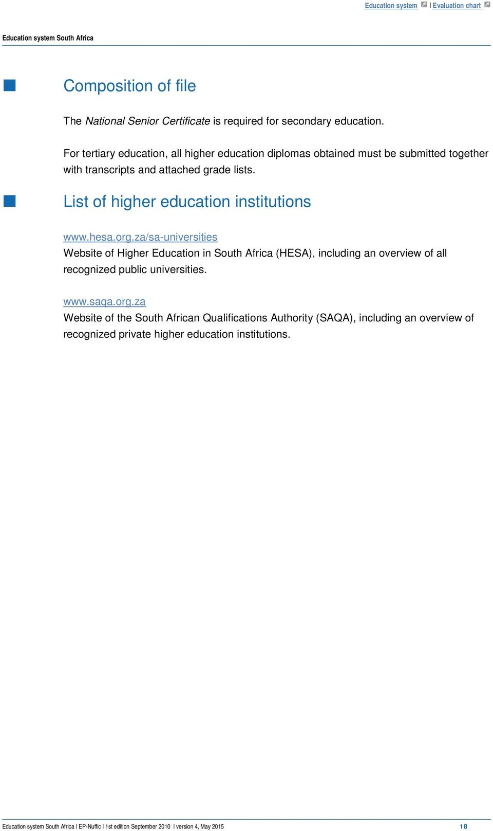 List of higher education institutions www.hesa.org.