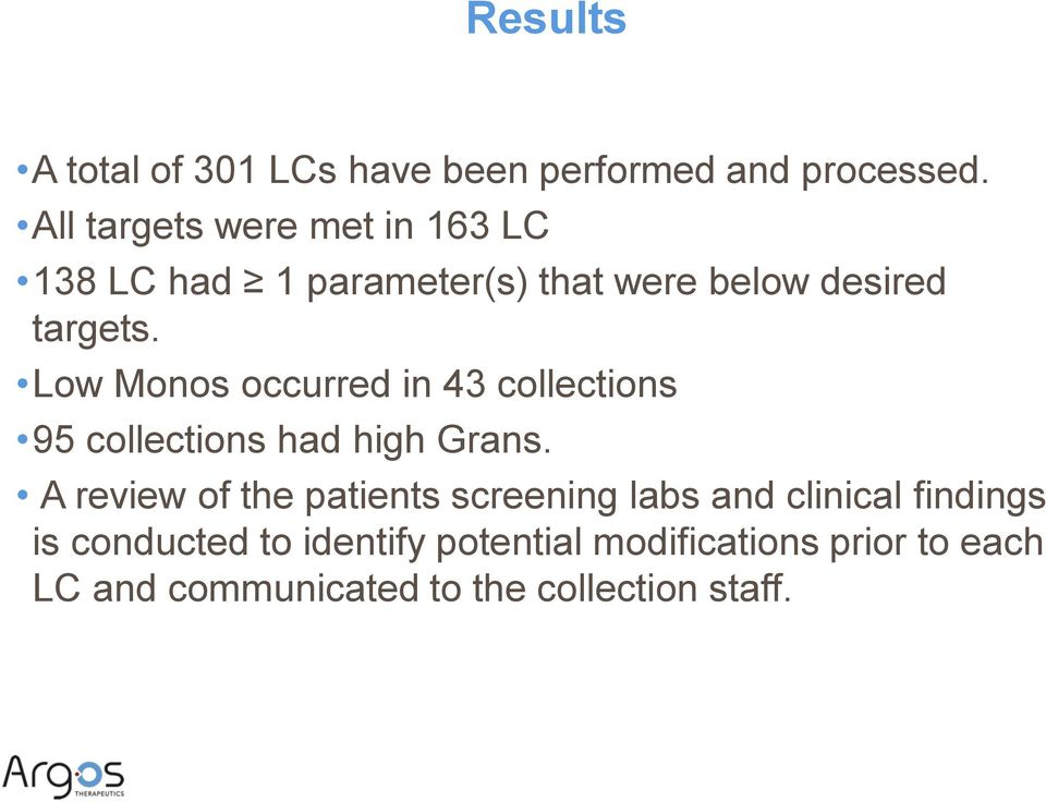 Low Monos occurred in 43 collections 95 collections had high Grans.