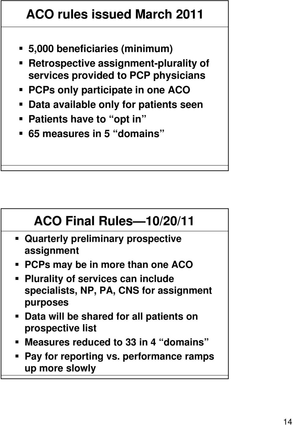 preliminary prospective assignment PCPs may be in more than one ACO Plurality of services can include specialists, NP, PA, CNS for assignment