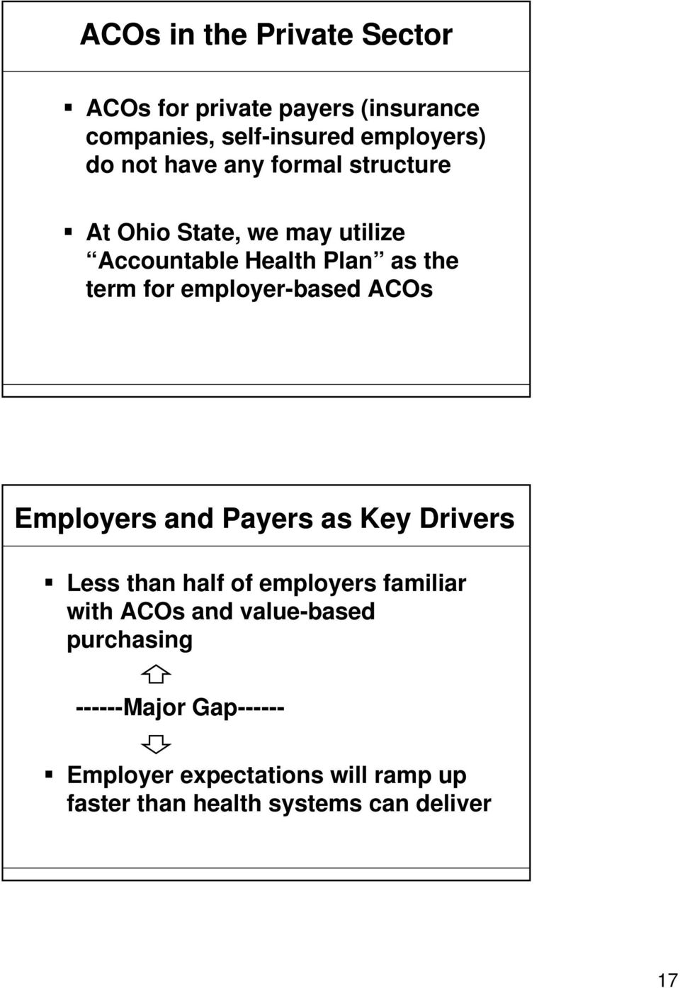 employer-based ACOs Employers and Payers as Key Drivers Less than half of employers familiar with ACOs and