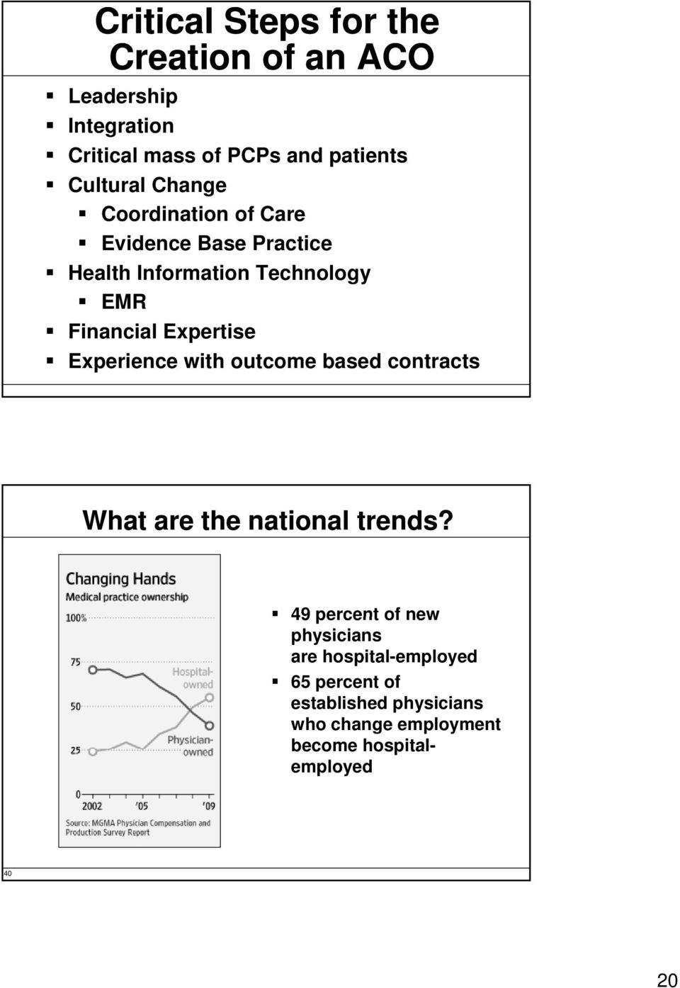 Expertise Experience with outcome based contracts What are the national trends?