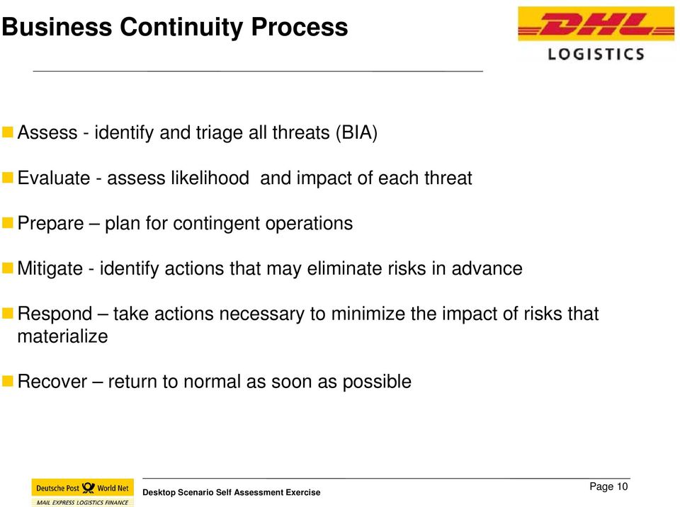 - identify actions that may eliminate risks in advance Respond take actions necessary to