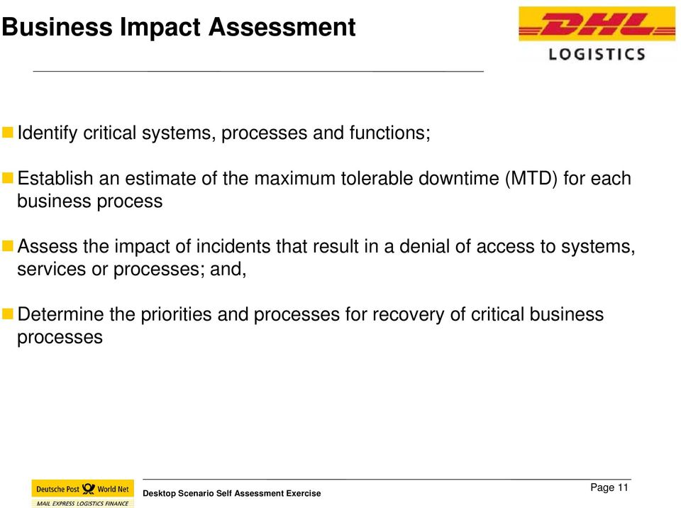 impact of incidents that result in a denial of access to systems, services or processes;