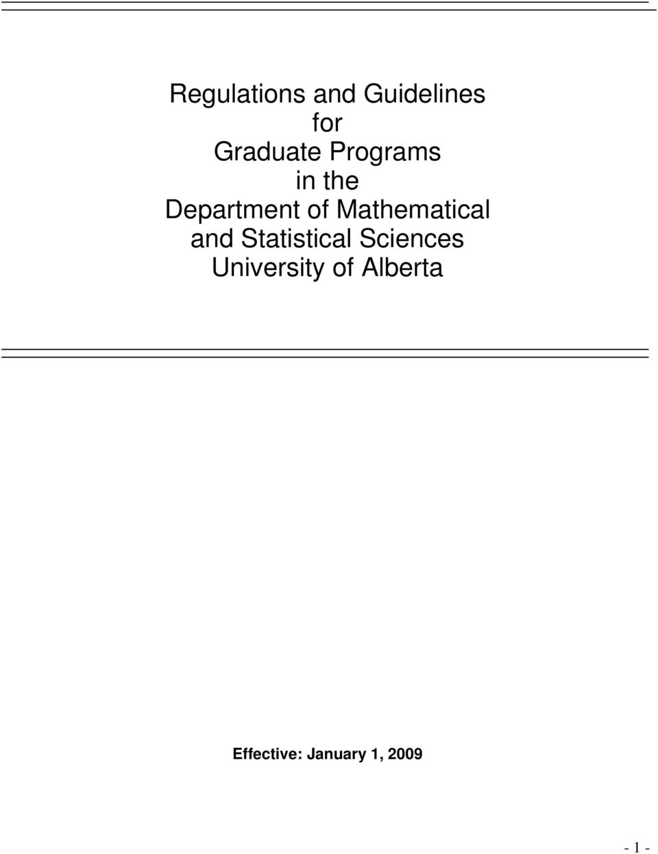 Mathematical and Statistical Sciences