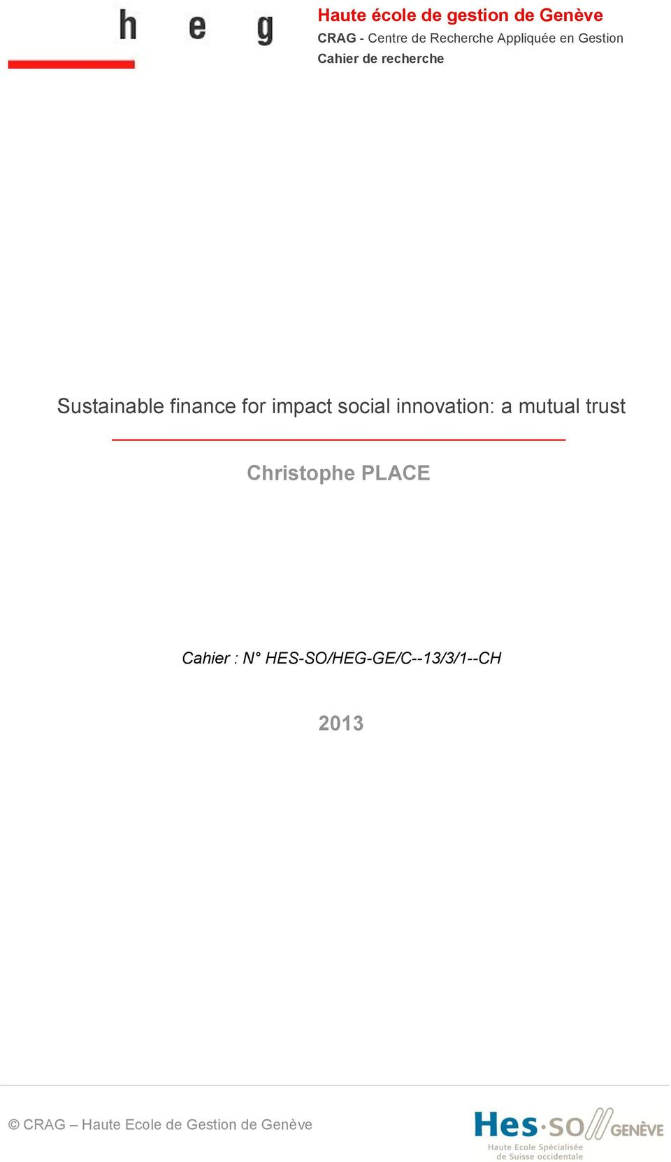 impact social innovation: a mutual trust Christophe PLACE Cahier