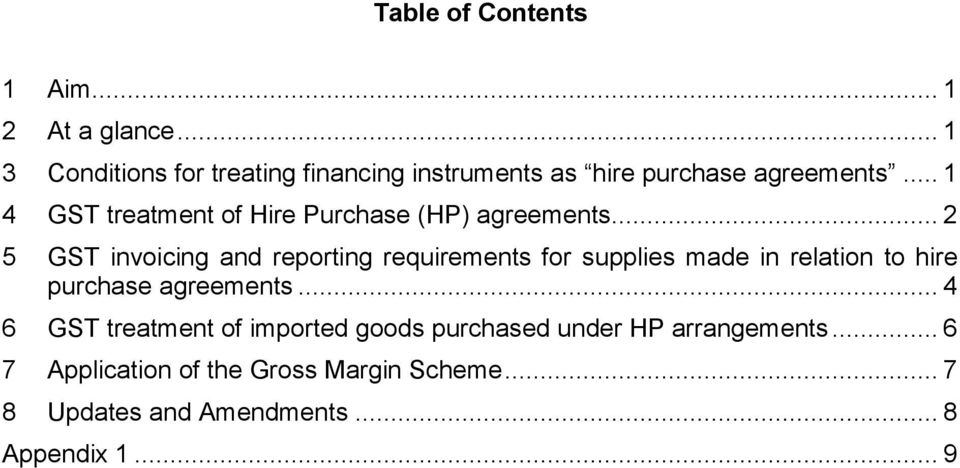 .. 1 4 GST treatment of Hire Purchase (HP) agreements.