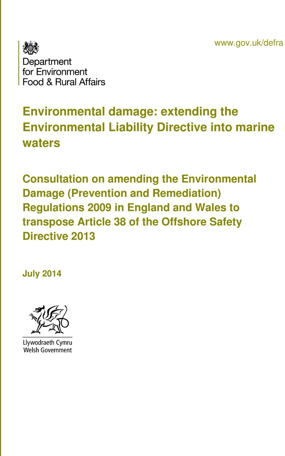 Directive into marine waters Consultation on amending the Environmental