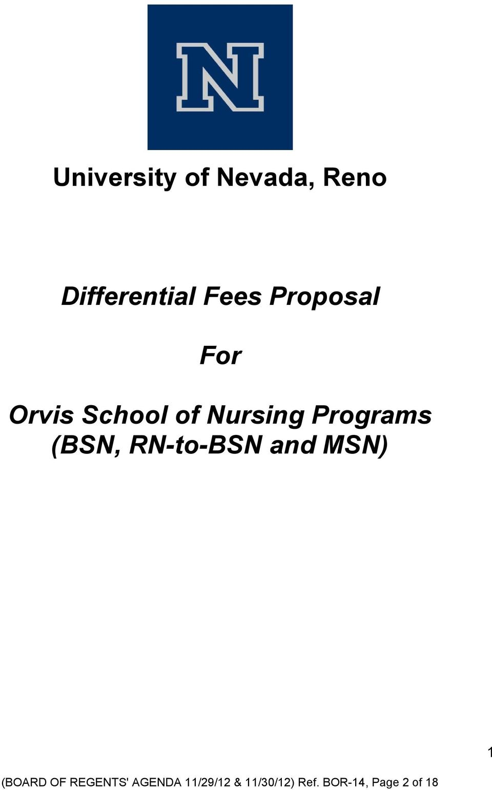 (BSN, RN-to-BSN and MSN) 1 (BOARD OF REGENTS'