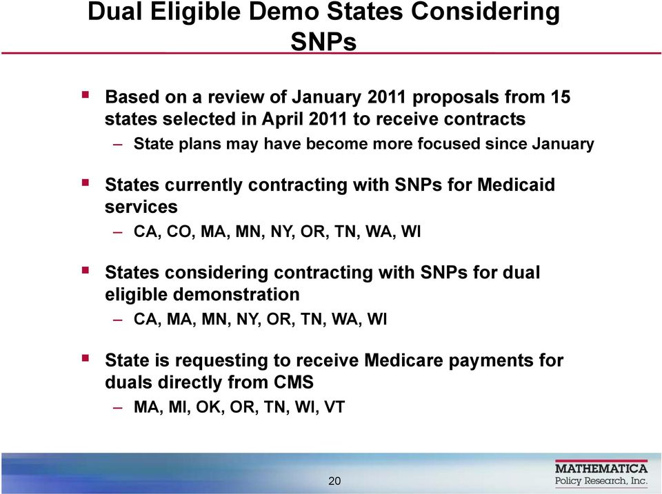 Medicaid services CA, CO, MA, MN, NY, OR, TN, WA, WI States considering contracting with SNPs for dual eligible demonstration