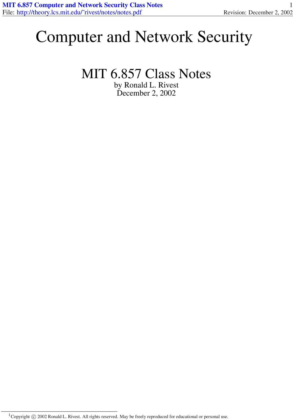 http://theory.lcs.mit.edu/ rivest/notes/notes.