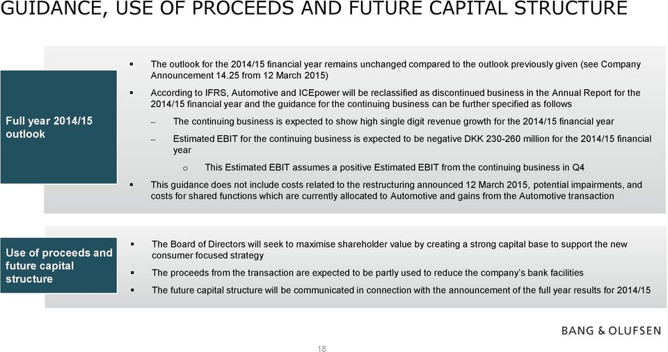 guidance for the continuing business can be further specified as follows The continuing business is expected to show high single digit revenue growth for the 2014/15 financial year Estimated EBIT for