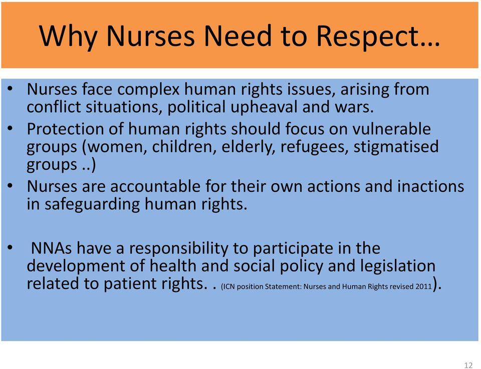 .) Nurses are accountable for their own actions and inactions in safeguarding human rights.
