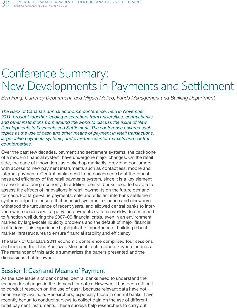 Payments and Settlement.