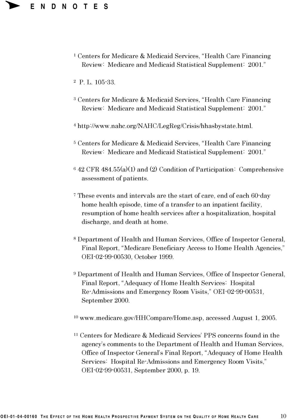 5 Centers for Medicare & Medicaid Services, Health Care Financing Review: Medicare and Medicaid Statistical Supplement: 2001. 6 42 CFR 484.