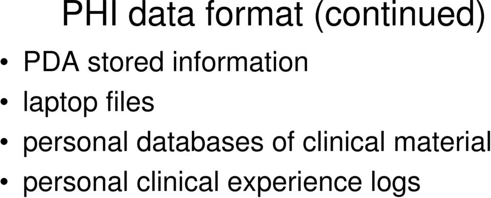 personal databases of clinical