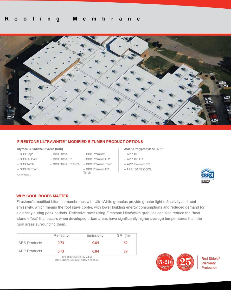 Firestone s modified bitumen membranes with UltraWhite granules provide greater light reflectivity and heat emissivity, which means the roof stays cooler, with lower building energy consumptions and