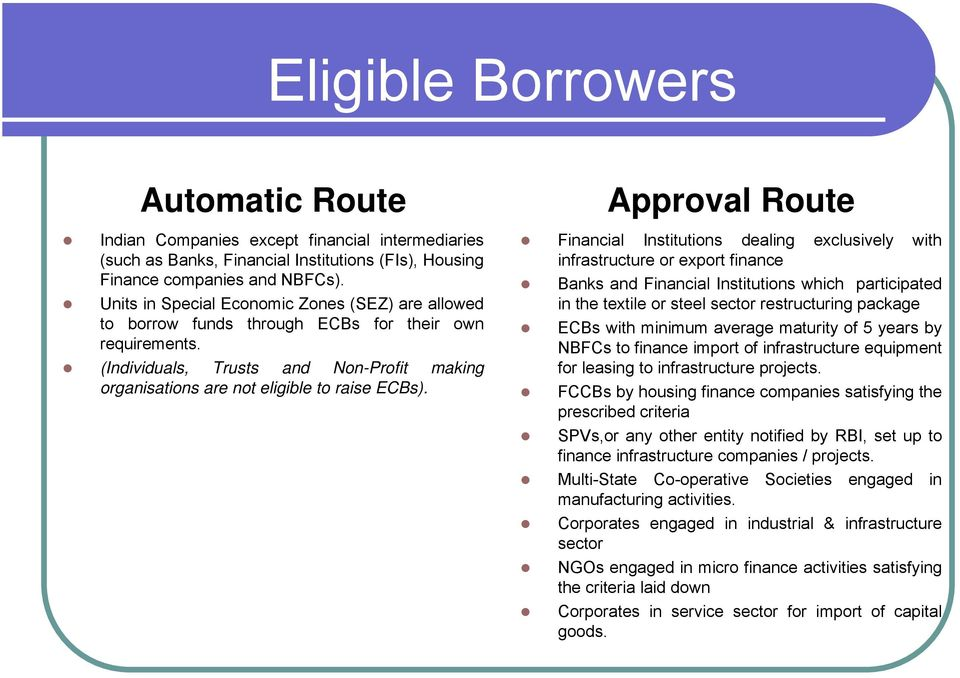 Approval Route Financial Institutions dealing exclusively with infrastructure or export finance Banks and Financial Institutions which participated in the textile or steel sector restructuring