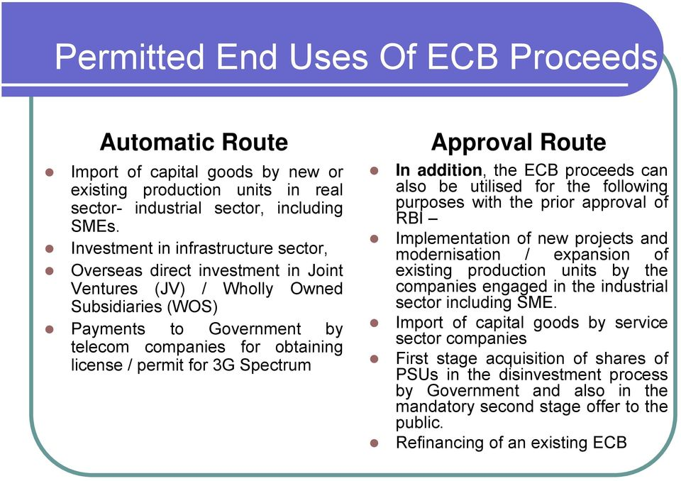 3G Spectrum Approval Route In addition, the ECB proceeds can also be utilised for the following purposes with the prior approval of RBI Implementation of new projects and modernisation / expansion of