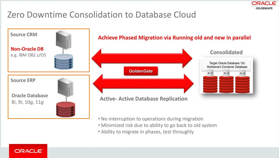 Source ERP Oracle Database 8i, 9i, 10g, 11g Active- Active Database Replication No interruption to