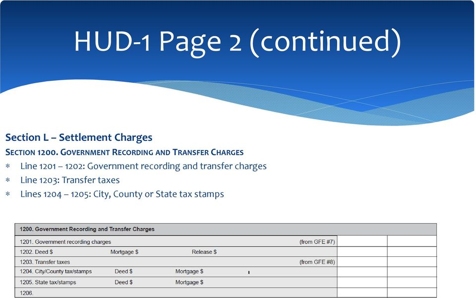 GOVERNMENT RECORDING AND TRANSFER CHARGES Line 1201 1202: