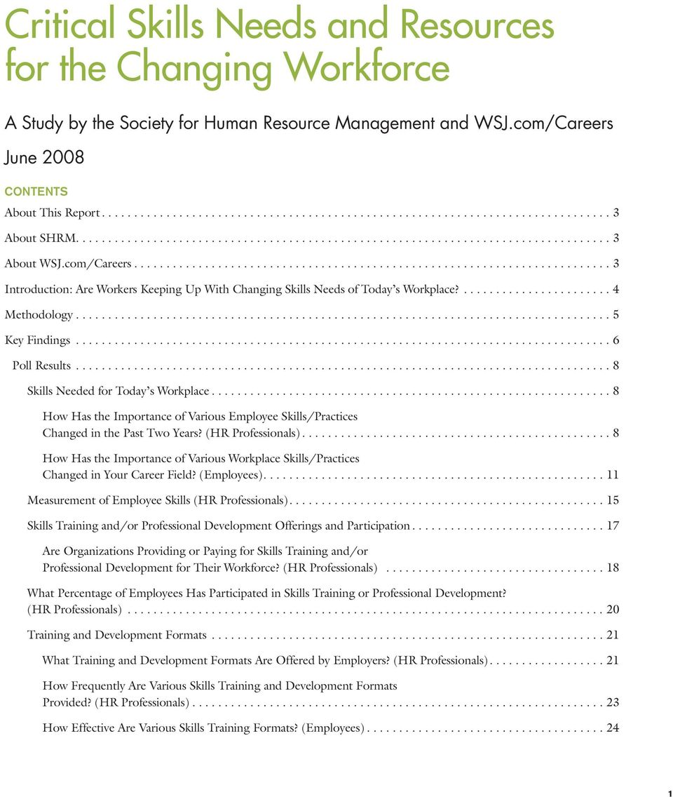 ..8 How Has the Importance of Various Employee Skills/Practices Changed in the Past Two Years? (HR Professionals).