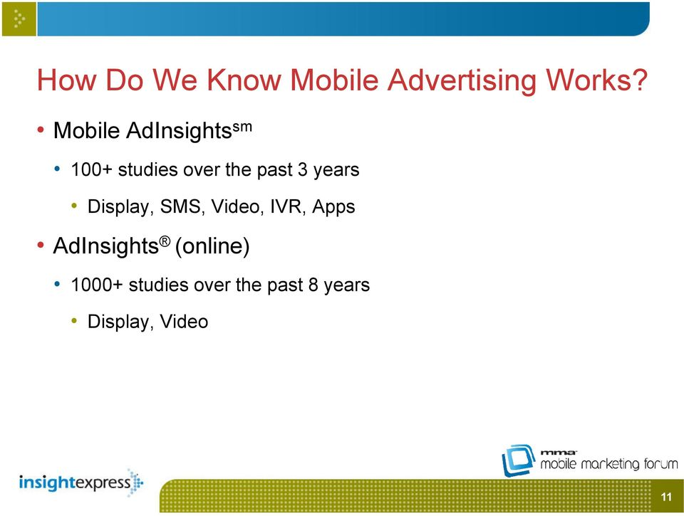 years Display, SMS, Video, IVR, Apps AdInsights
