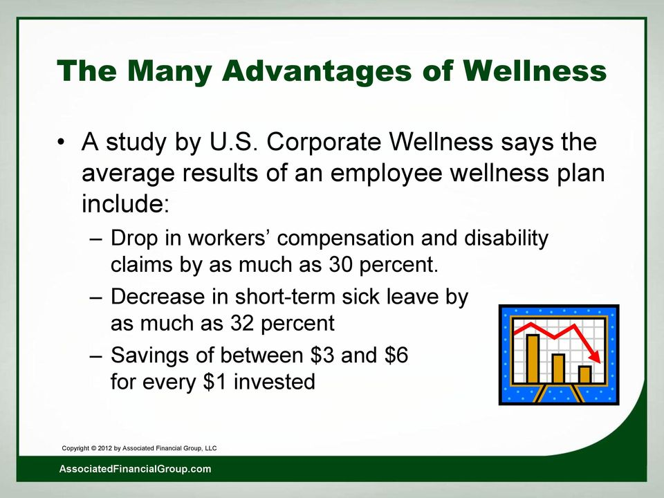include: Drop in workers compensation and disability claims by as much as 30