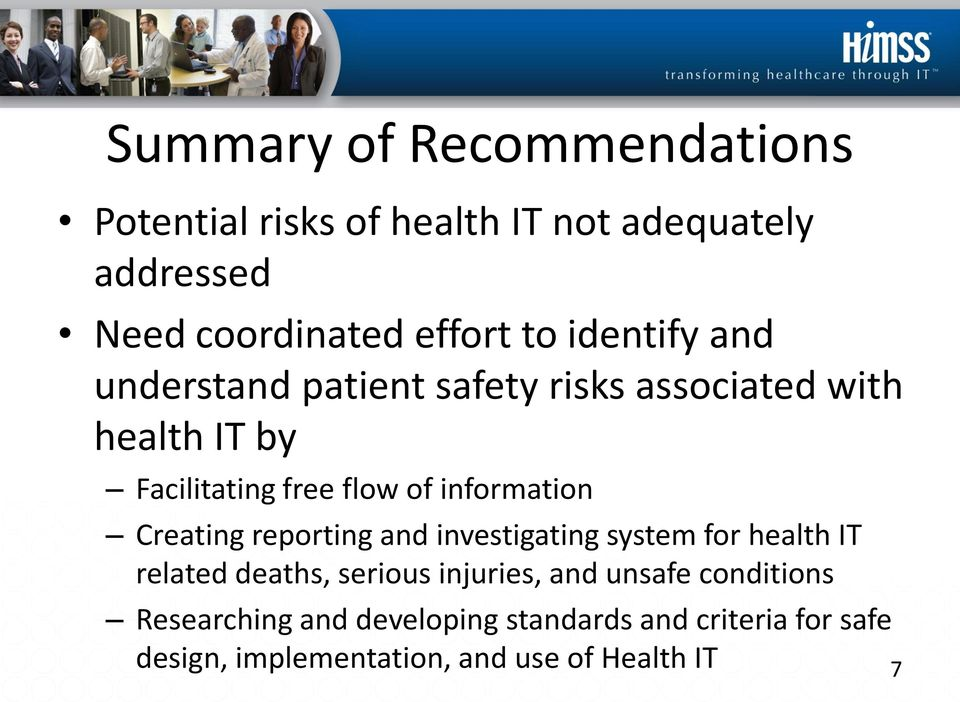 information Creating reporting and investigating system for health IT related deaths, serious injuries, and
