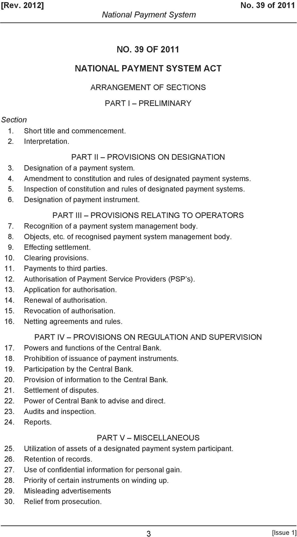 Amendment to constitution and rules of designated payment systems. 5. Inspection of constitution and rules of designated payment systems. 6. Designation of payment instrument.