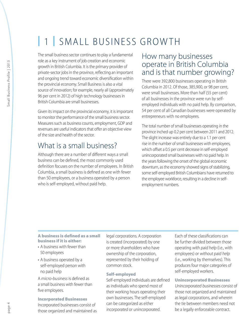 Small Business is also a vital source of innovation; for example, nearly all (approximately 96 per cent in 2012) of high technology businesses in British Columbia are small businesses.