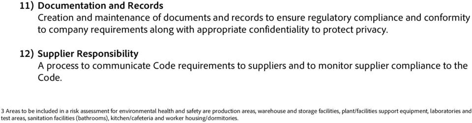 12) Supplier Responsibility A process to communicate Code requirements to suppliers and to monitor supplier compliance to the Code.