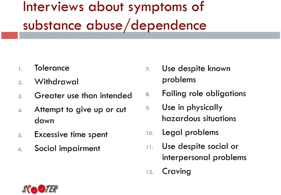 Social impairment 7. Use despite known problems 8. Failing role obligations 9.